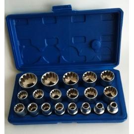Nástrčné hlavice 8-32 mm - sada 19 kusů, 12-hran